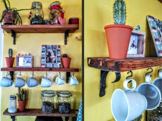 Eichen Esstisch mit Rohstahlfüssen